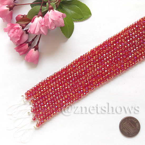 Tiaria Glass Crystal rondelle Beads <b>about 3x3.5mm</b> faceted 05AB-Cherry Red AB  (8-in-str,about 75-pc-str) per <b>10-str-bag</b>