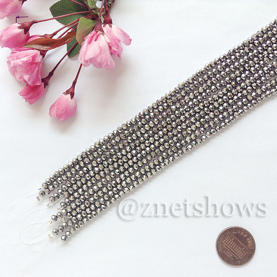 Tiaria Glass Crystal rondelle Beads <b>about 3x3.5mm</b> faceted 104- Metallic Silver  (8-in-str,about 75-pc-str) per <b>10-str-bag</b>