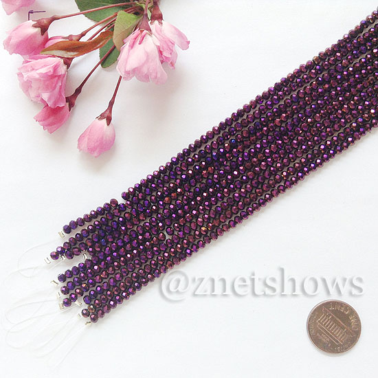 Tiaria Glass Crystal rondelle Beads <b>about 3x3.5mm</b> faceted 107-Metallic Purple  (8-in-str,about 75-pc-str) per <b>10-str-bag</b>