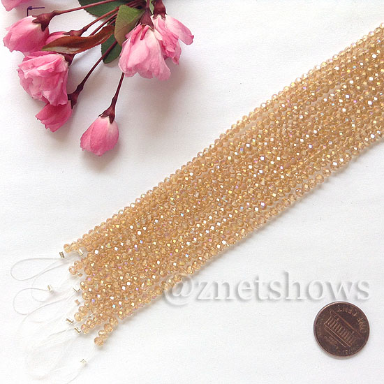 Tiaria Glass Crystal rondelle Beads <b>about 3x3.5mm</b> faceted 16AB-Desert Gold AB  (8-in-str,about 75-pc-str) per <b>10-str-bag</b>