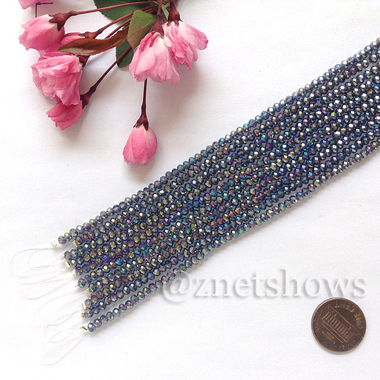 Tiaria Glass Crystal rondelle Beads <b>about 3x3.5mm</b> faceted  Light ink blue AB (8-in-str,about 75-pc-str) per <b>10-str-bag</b>