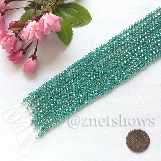 Tiaria Glass Crystal rondelle Beads <b>about 3x3.5mm</b> faceted  Malachite green AB (8-in-str,about 75-pc-str) per <b>10-str-bag</b>