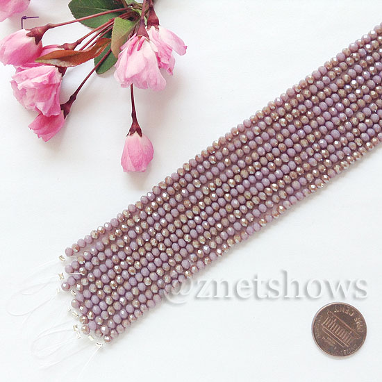 Tiaria Glass Crystal rondelle Beads <b>about 3x3.5mm</b> faceted  Opaque Purple AB (8-in-str,about 75-pc-str) per <b>10-str-bag</b>