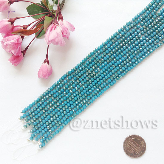Tiaria Glass Crystal rondelle Beads <b>about 3x3.5mm</b> faceted  Opaque Pacific Blue AB (8-in-str,about 75-pc-str) per <b>10-str-bag</b>