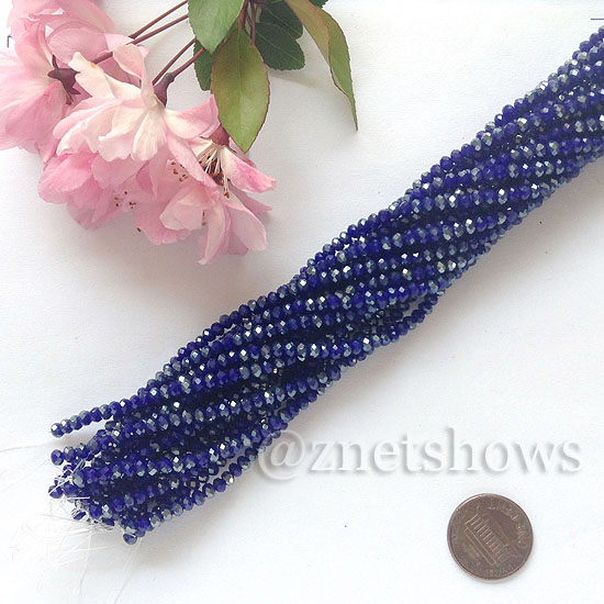 Tiaria Glass Crystal rondelle Beads <b>about 3x3.5mm</b> faceted  Opaque Deep blue (about 150-pc-str) per <b>16-in-str</b>