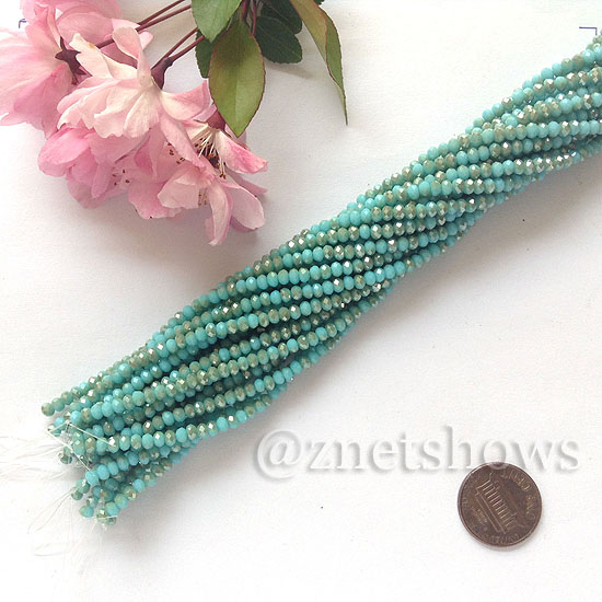 Tiaria Glass Crystal rondelle Beads <b>about 3x3.5mm</b> faceted  Opaque Turquoise blue (about 150-pc-str) per <b>16-in-str</b>
