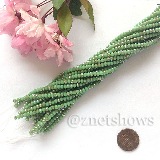 Tiaria Glass Crystal rondelle Beads <b>about 3x3.5mm</b> faceted  Opaque Apple green (about 150-pc-str) per <b>16-in-str</b>