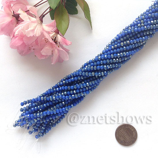 Tiaria Glass Crystal rondelle Beads <b>about 3x3.5mm</b> faceted  Opaque Medium blue (about 150-pc-str) per <b>16-in-str</b>