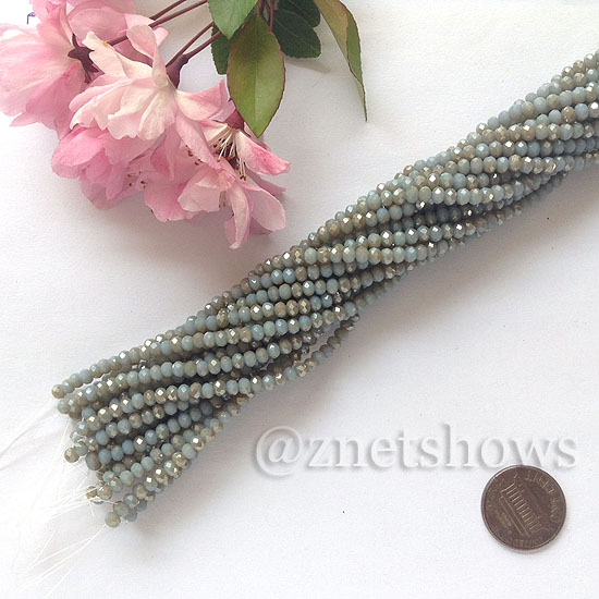 Tiaria Glass Crystal rondelle Beads <b>about 3x3.5mm</b> faceted  Opaque dark grey (about 150-pc-str) per <b>16-in-str</b>