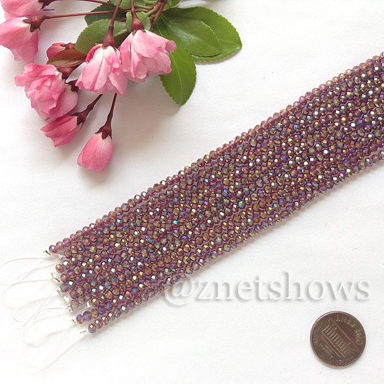 Tiaria Glass Crystal rondelle Beads <b>about 3x3.5mm</b> faceted 37AB-Medium Amethyst AB  (8-in-str,about 75-pc-str) per <b>10-str-bag</b>