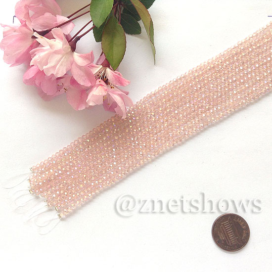 Tiaria Glass Crystal rondelle Beads <b>About 2x2.5mm</b> faceted 07AB-Sweet Peach AB  (8-in-str,about 100-pc-str) per <b>10-str-bag</b>