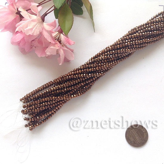 Tiaria Glass Crystal rondelle Beads <b>About 2x2.5mm</b> faceted 105-Metallic Copper  (about 200-pc-str) per <b>16-in-str</b>