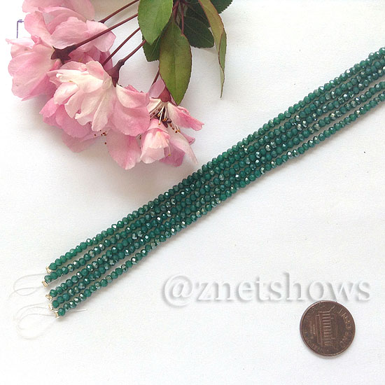 Tiaria Glass Crystal rondelle Beads <b>About 2x2.5mm</b> faceted  Opaque Malachite green (8-in-str,about 100-pc-str) per <b>5-str-bag</b>