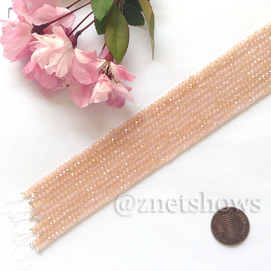 Tiaria Glass Crystal rondelle Beads <b>About 2x2.5mm</b> faceted  Opaque Pink (8-in-str,about 100-pc-str) per <b>10-str-bag</b>
