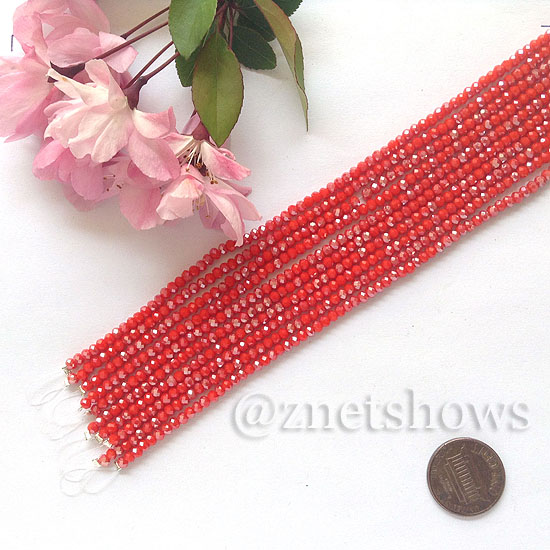Tiaria Glass Crystal rondelle Beads <b>About 2x2.5mm</b> faceted  Opaque red (8-in-str,about 100-pc-str) per <b>10-str-bag</b>