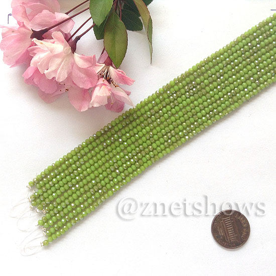 Tiaria Glass Crystal rondelle Beads <b>About 2x2.5mm</b> faceted  Opaque Olive green (8-in-str,about 100-pc-str) per <b>10-str-bag</b>