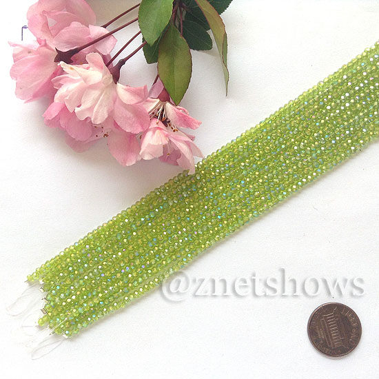 Tiaria Glass Crystal rondelle Beads <b>About 2x2.5mm</b> faceted 22AB-Olive AB  (8-in-str,about 100-pc-str) per <b>10-str-bag</b>