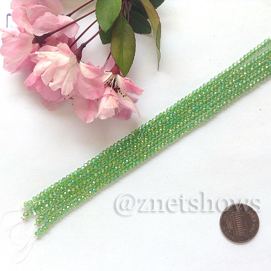 Tiaria Glass Crystal rondelle Beads <b>About 2x2.5mm</b> faceted 24AB-Pine green AB  (8-in-str,about 100-pc-str) per <b>5-str-bag</b>