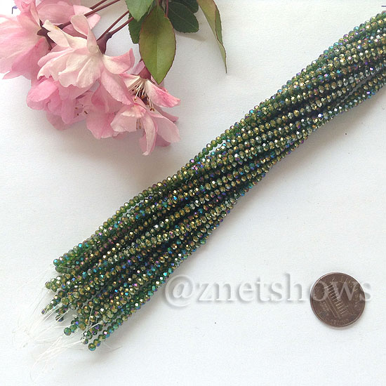Tiaria Glass Crystal rondelle Beads <b>About 2x2.5mm</b> faceted 25AB-Shamrock AB  (about 200-pc-str) per <b>16-in-str</b>