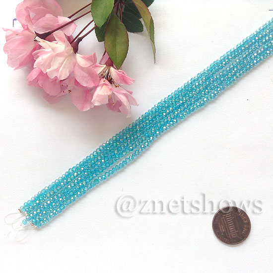 Tiaria Glass Crystal rondelle Beads <b>About 2x2.5mm</b> faceted 30AB-Pacific Blue AB  (8-in-str,about 100-pc-str) per <b>5-str-bag</b>