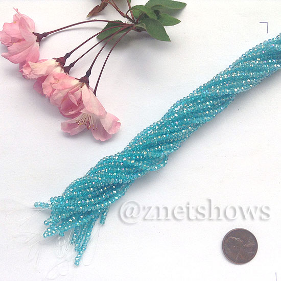Tiaria Glass Crystal rondelle Beads <b>About 2x2.5mm</b> faceted 30AB-Pacific Blue AB  (about 200-pc-str) per <b>16-in-str</b>