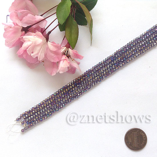 Tiaria Glass Crystal rondelle Beads <b>About 2x2.5mm</b> faceted 35AB-Purple AB  (8-in-str,about 100-pc-str) per <b>5-str-bag</b>