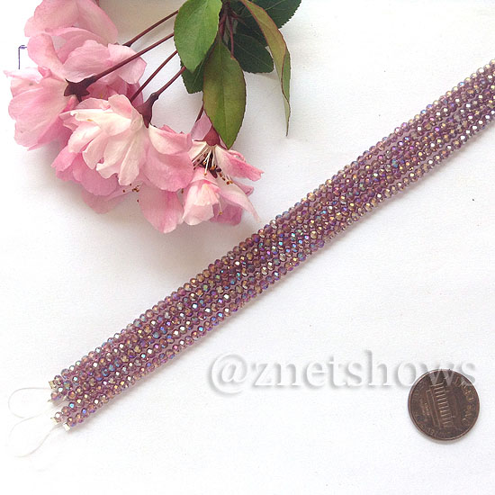 Tiaria Glass Crystal rondelle Beads <b>About 2x2.5mm</b> faceted 37AB-Medium Amethyst AB  (8-in-str,about 100-pc-str) per <b>5-str-bag</b>