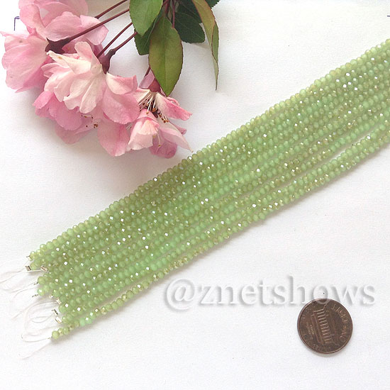 Tiaria Glass Crystal rondelle Beads <b>About 2x2.5mm</b> faceted 43AB-Opaque Seafoam Green AB  (8-in-str,about 100-pc-str) per <b>10-str-bag</b>