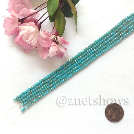 Tiaria Glass Crystal rondelle Beads <b>About 2x2.5mm</b> faceted 46AB-Opaque Blue Opal AB  (8-in-str,about 100-pc-str) per <b>5-str-bag</b>