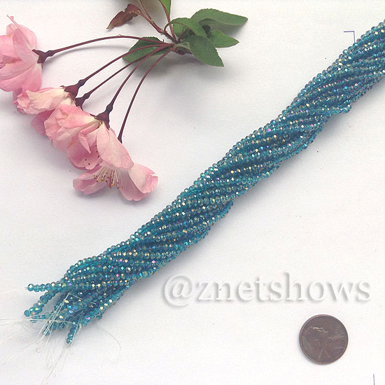 Tiaria Glass Crystal rondelle Beads <b>About 2x2.5mm</b> faceted 82AB- Teal AB  (about 200-pc-str) per <b>16-in-str</b>