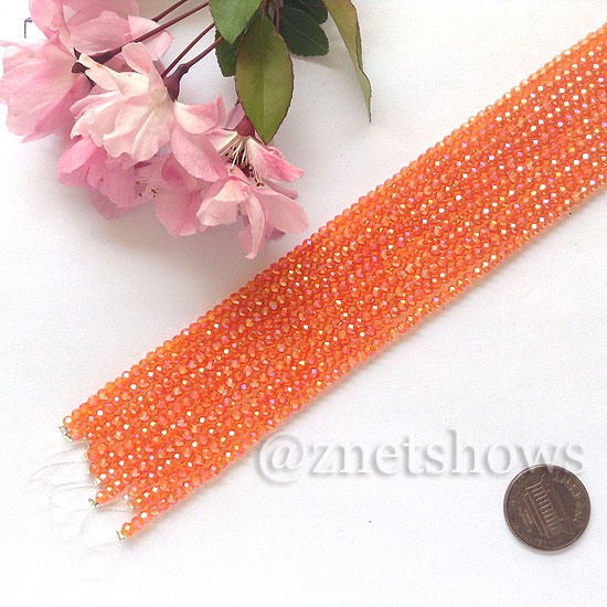 Tiaria Glass Crystal rondelle Beads <b>About 2x2.5mm</b> faceted 83AB - Tangerine AB  (8-in-str,about 100-pc-str) per <b>10-str-bag</b>