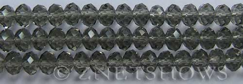 Tiaria Glass Crystal 15-Smoky Quartz  rondelle Beads <b>8x5mm</b> faceted     per   <b> 8-in-str</b>