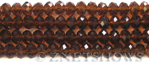 Tiaria Glass Crystal 18-Mocha rondelle Beads <b>8x5mm</b> faceted     per   <b> 8-in-str</b>