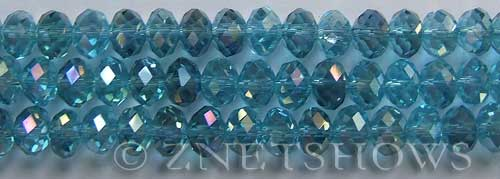 Tiaria Glass Crystal 28AB-Turquoise Bay AB rondelle Beads <b>8x5mm</b> faceted     per   <b> 8-in-str</b>