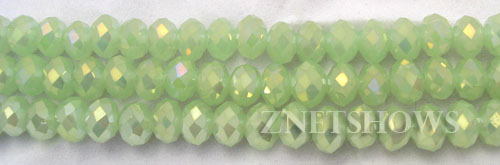 Tiaria Glass Crystal 43AB-Opaque Seafoam Green AB rondelle Beads <b>8x5mm</b> faceted     per   <b> 8-in-str</b>