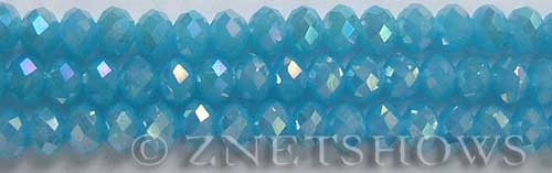 Tiaria Glass Crystal 46AB-Opaque Blue Opal AB rondelle Beads <b>8x5mm</b> faceted     per   <b> 8-in-str</b>
