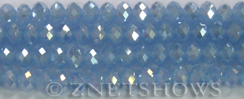 Tiaria Glass Crystal 47AB-Opaque Sky Blue AB rondelle Beads <b>8x5mm</b> faceted     per   <b> 8-in-str</b>