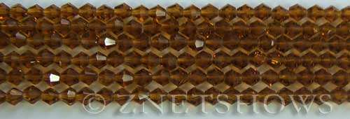 Tiaria Glass Crystal 17-Amber bicone Beads <b>4mm</b> faceted     per   <b> 8-in-str (50-pc-str)</b>