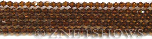 Tiaria Glass Crystal 18-Mocha bicone Beads <b>4mm</b> faceted     per   <b> 8-in-str (50-pc-str)</b>