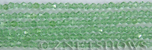 Tiaria Glass Crystal 23-Peridot bicone Beads <b>4mm</b> faceted     per   <b> 8-in-str (50-pc-str)</b>