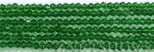 Tiaria Glass Crystal 25-Shamrock bicone Beads <b>4mm</b> faceted     per   <b> 8-in-str (50-pc-str)</b>