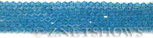 Tiaria Glass Crystal 30-Pacific Blue bicone Beads <b>4mm</b> faceted     per   <b> 8-in-str (50-pc-str)</b>