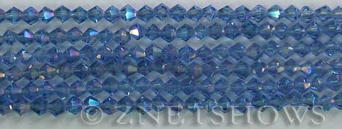 Tiaria Glass Crystal 31AB-Light Sapphire AB bicone Beads <b>4mm</b> faceted     per   <b> 8-in-str (50-pc-str)</b>