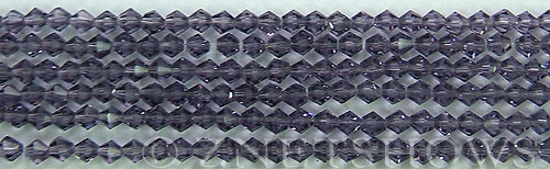 Tiaria Glass Crystal 34-Light Purple  bicone Beads <b>4mm</b> faceted     per   <b> 8-in-str (50-pc-str)</b>