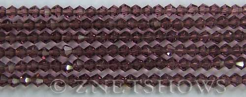 Tiaria Glass Crystal 37-Medium Amethyst bicone Beads <b>4mm</b> faceted     per   <b> 8-in-str (50-pc-str)</b>
