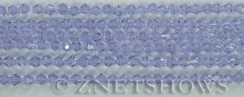 Tiaria Glass Crystal 39-Periwinkle Changes bicone Beads <b>4mm</b> faceted     per   <b> 8-in-str (50-pc-str)</b>