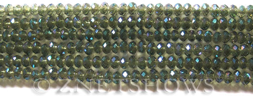 Tiaria Glass Crystal 122-Veridian Green rondelle Beads <b>4x3mm</b> faceted     per   <b> 6-in-str (50-pc-str)</b>