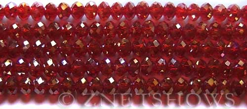 Tiaria Glass Crystal 04AB-Light Cherry AB rondelle Beads <b>6x4mm</b> faceted     per   <b> 8.5-in-str (50-pc-str)</b>
