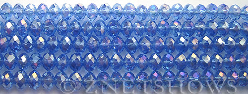 Tiaria Glass Crystal 31AB-Light Sapphire AB rondelle Beads <b>6x4mm</b> faceted     per   <b> 8.5-in-str (50-pc-str)</b>