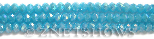 Tiaria Glass Crystal 46AB-Opaque Blue Opal AB rondelle Beads <b>6x4mm</b> faceted     per   <b> 8.5-in-str (50-pc-str)</b>